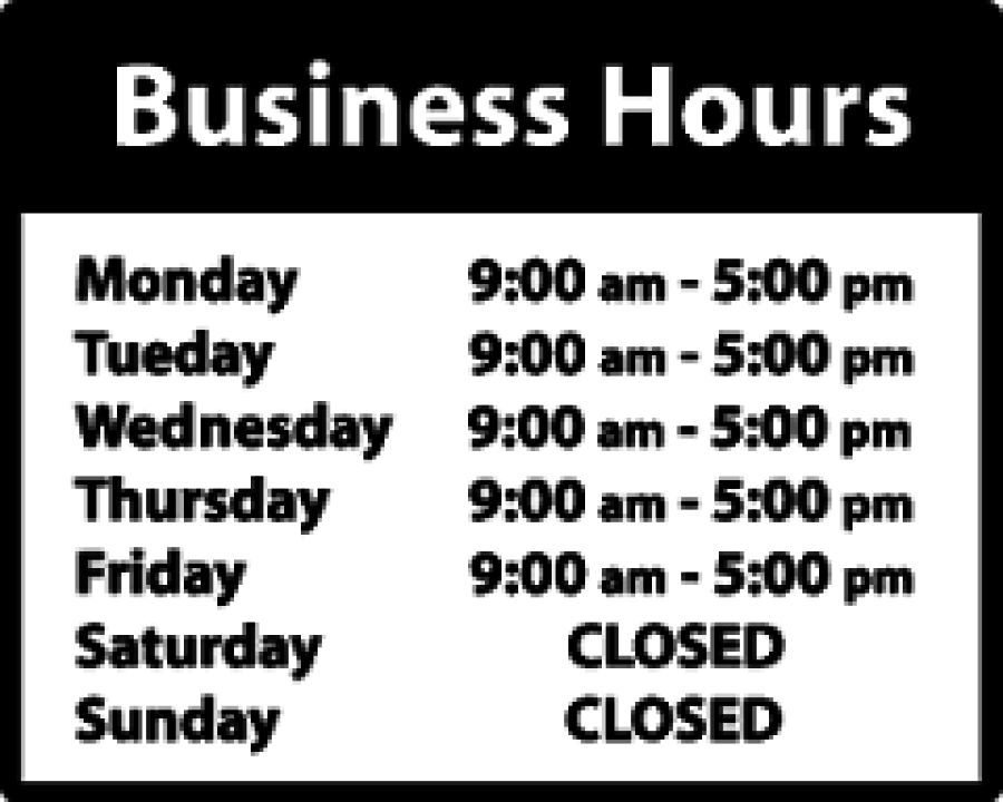 Store hours sign template zrom accmission Images